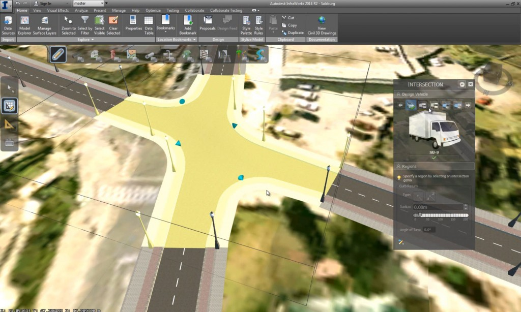 A screenshot of Autodesk Infraworks, displaying the implementation of the intersection tool that I designed.