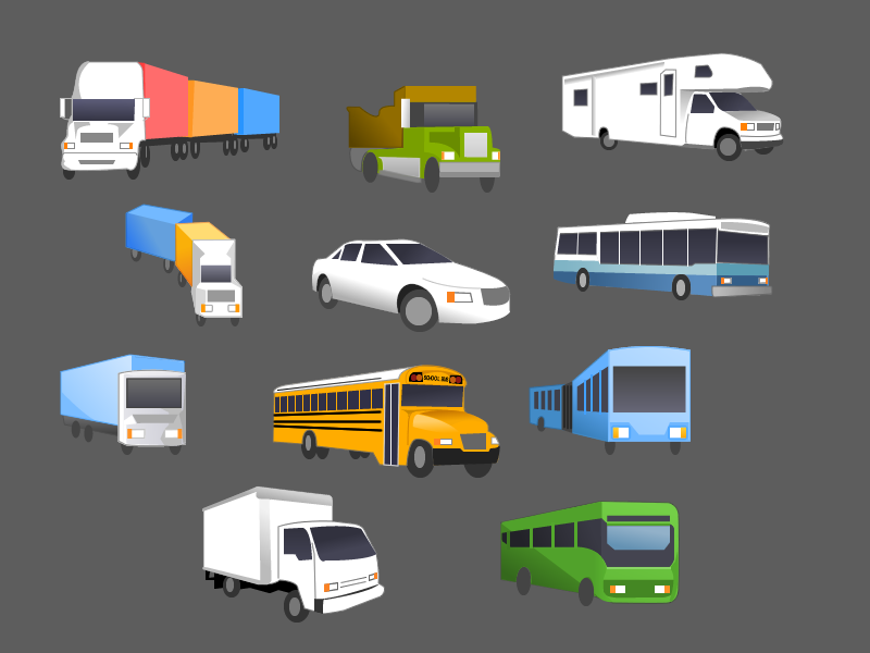 A series of digitally illustrated vehicles: cars, trucks, buses, and more.