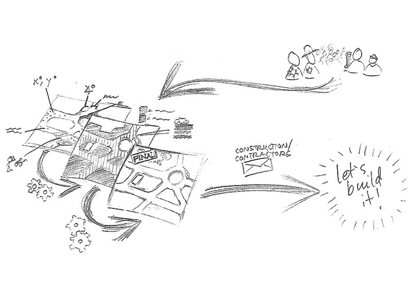 A pencil sketch comic covering part of the conceptual design process.