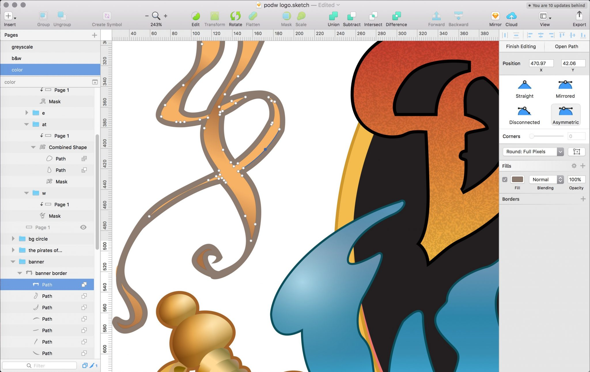 Screenshot of the logo illustration work-in-progress file in Sketch.